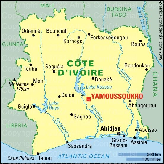 Côte DIvoire Browse By Country Africa Confidential - Cote d'ivoire map