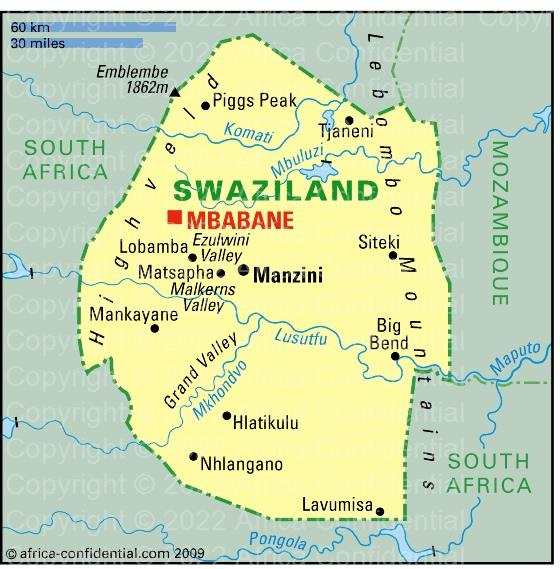 Swaziland Browse By Country Africa Confidential - Swaziland map