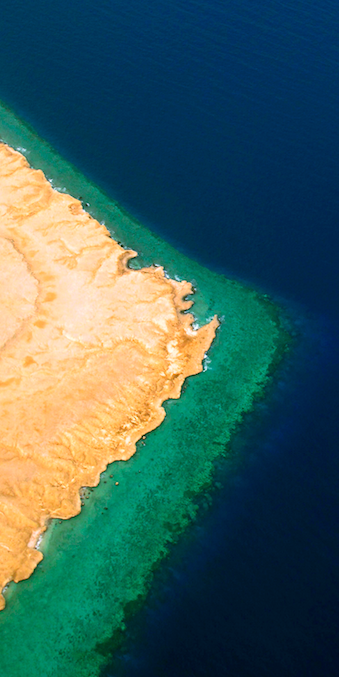 EGYPT: Aerial view of the Red Sea coastline. Here the Sinai desert meets the ocean, with a coral reef at the seam. Fredrik Naumann / Panos