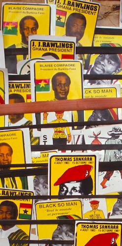 OUAGADOUGOU: Stall selling stickers of politicians Blaise Compaoré, JJ Rawlings and Thomas Sankara, and the band Black So Man. Crispin Hughes / Panos