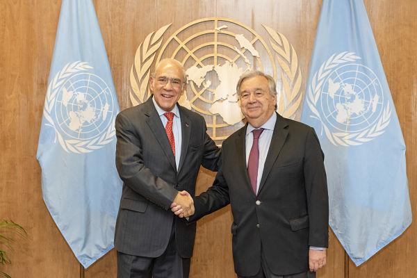 António Guterres (R) with Ángel Gurría. Pic: UN Photo/Rick Bajornas