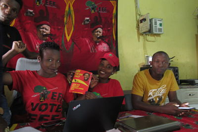 EFF volunteers at work. Johannesburg, April 2019. Pic: Kate Bartlett/DPA/PA Images