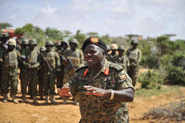 Katumba Wamala addresses Ugandan AU troops, Barawe, Somalia, May 2015. Pic: Omar Abdisalam / Amisom