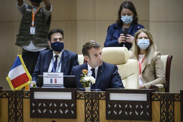 Emmanuel Macron, Nouakchott, 30 June 2020. Pic: Eliot Blondet/Maxppp/PA Images