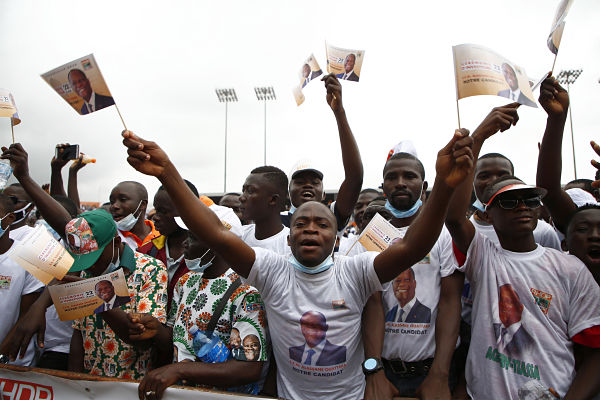 Supporters of Alassane Ouattara attend an event in Abidjan, 23 August 2020. Pic: Yvan Sonh/Xinhua News Agency/PA Images