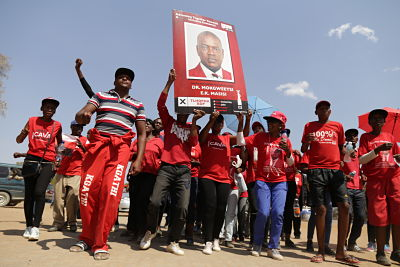 BDP supporters gather as ballots are counted in Gaborone on 24 October 2019. Pic: Tshekiso Tebalo/Xinhua/PA Images