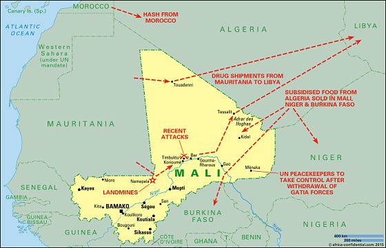 Mali map © Africa Confidential 2015