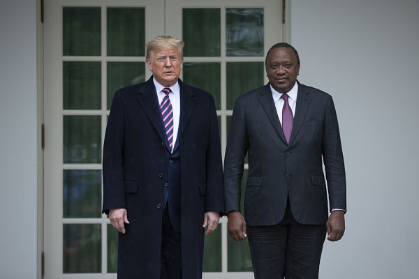 Donald Trump and Uhuru Kenyatta, the White House, 6 February 2020. Pic: Stefani Reynolds/DPA/PA Images