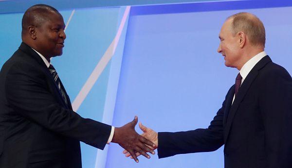 Faustin Archange Touadéra and Vladimir Putin. Pic: Sergei Chirikov/ Reuters / Alamy