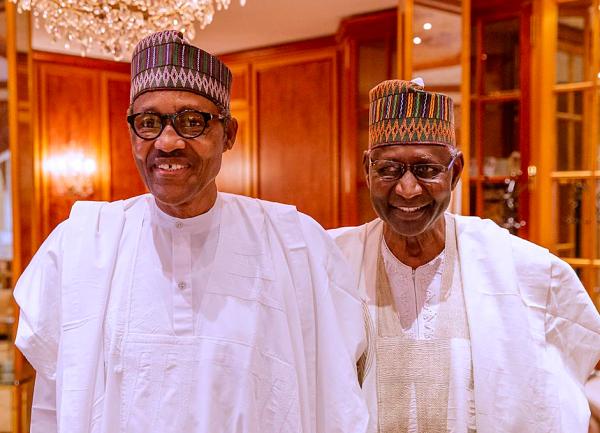Muhammadu Buhari with Abba Kyari. Pic: Bayo Omboriowo