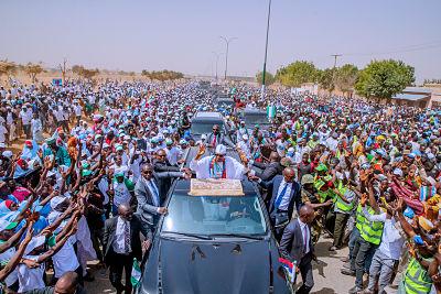 Muhammadu Buhari in Katsina 15 February 2019 Pic: Guo Jun/Xinhua News Agency/PA Images