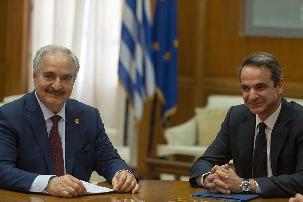 Kyriakos Mitsotakis meets with Khalifa Haftar in Athens 17 January 2020. Pic: Marios Lolos/Xinhua News Agency/PA Images