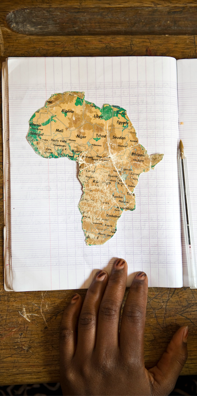 A student's map of Africa at a school near Bamako, Mali. Sven Torfinn / Panos