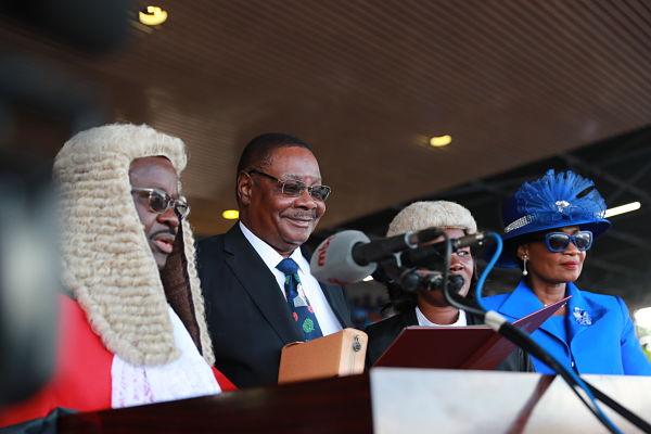 Peter Mutharika is sworn at the Kamuzu Stadium in Blantyre, 28 May 2019. Pic: Peng Lijun/Xinhua News Agency/PA Images