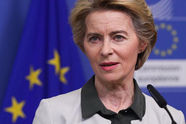 Ursula von der Leyen delivers a press statement on the European Green Deal, December 2019. Pic: Zheng Huansong/Xinhua News Agency/PA