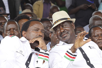 Stephen Kalonzo Musyoka and Raila Odinga. Image: Khalil Senosi / AP/Press Association Images