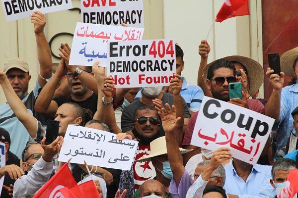 Demonstration in Tunis, 18 September 2021. Pic: Jdidi Wassim/Medialys Images/Alamy