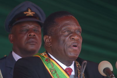 Emmerson Mnangagwa, Heroes Day, August 2019. Pic: Shaun Jusa/Xinhua News Agency/PA Images