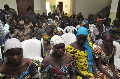 Newly-released Chibok girls. Pic: Olatunji obasa/Xinhua News Agency/PA Images
