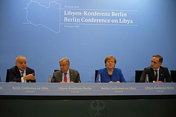 L to R: Ghassan Salame, Antonio Guterres, Angela Merkel and Heiko Maas, Berlin Conference on Libya, 19 January 2020. Pic: Wang Qing/Xinhua News Agency/PA Images