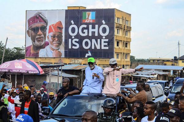 Rotimi Akeredolu and his deputy Lucky Ayedatiwa celebrate their victory, Ondo State, 10 October 2020. Pic: Olukayode Jaiyeola/NurPhoto/PA Images