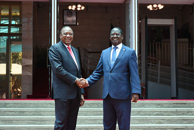 NAIROBI, March 9, 2018. President Uhuru Kenyatta (L) shakes hands with Raila Odinga. Pic: Seth Emmanuel/Xinhua News Agency/PA Images