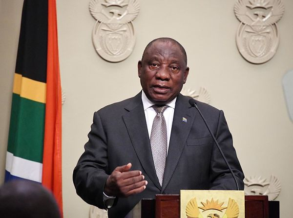 Cyril Ramaphosa delivers the joint statement on coronavirus. Pic: GCIS