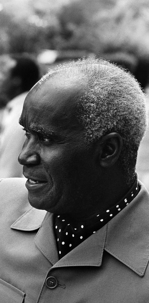 ZAMBIA: Former President Kenneth Kaunda of Zambia during the Frontline States Summit in Lusaka. Ernst Schade / Panos