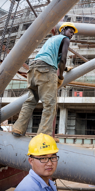 LUSAKA: A Chinese engineer supervises construction