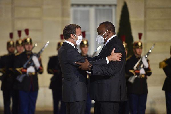 Emmanuel Macron and Uhuru Kenyatta, September 2020. Pic: Maxppp/PA Images