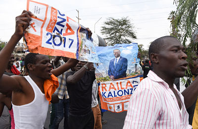 Supporters of Raila Odinga celebrate after the Supreme Court declared the presidential election null and void. Pic: Li Baishun/Xinhua News Agency/PA Images