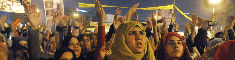 Cairo: Young female protestors, among thousands gathered in Tahrir Square. Photographer: Teun Voeten