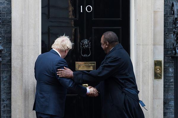 Boris Johnson welcomes Uhuru Kenyatta on the steps of 10 Downing Street ahead of their meeting on 21 January 2020. Pic: WIktor Szymanowicz/NurPhoto/PA Images