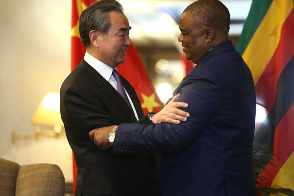 Constantino Chiwenga meets with Chinese State Councillor and Foreign Minister Wang Yi in Harare, January 2020. Pic: Zhang Yuliang/Xinhua News Agency/PA Images