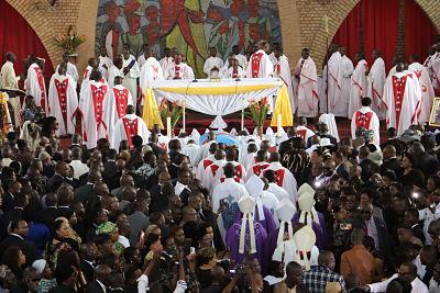 Papa Wemba's funeral in Kinshasa on 4 May (AP Photo/John Bompengo)