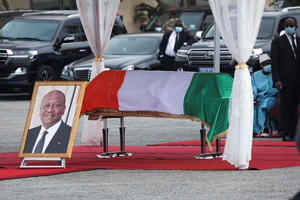 The coffin Hamed Bakayoko, pictured during its return from Germany at the Felix Houphouet Boigny international airport, Abidjan, 13 March 2021. Pic: Luc Gnago / Reuters / Alamy