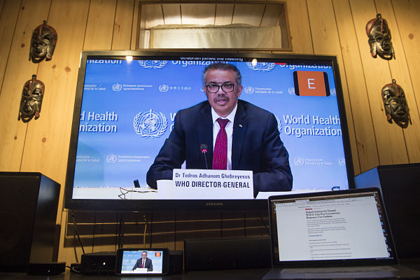 15 April 2020. Tedros Adhanom Ghebreyesus holds a virtual briefing on the Covid-19 pandemic in Geneva. Pic: © United Nations