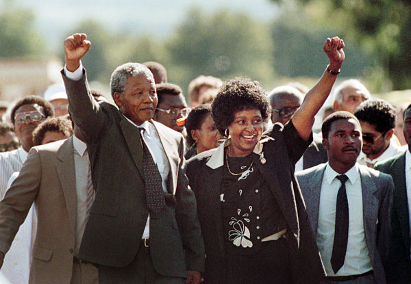 11 February 1990: Nelson Mandela celebrates with Winnie Mandela as he is released from Victor Verster prison. Pic: Graeme Williams/DPA/PA Images