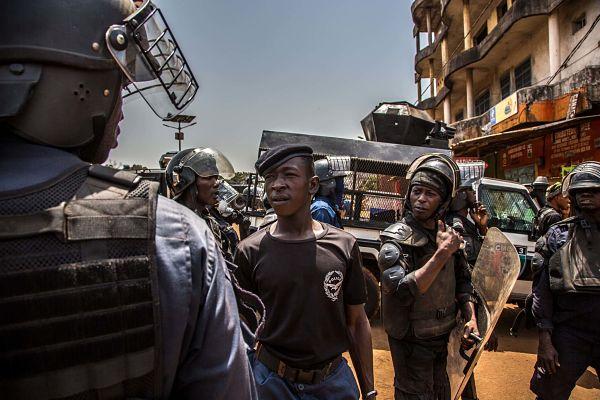 Protests in Conakry, March 2020. Pic: Sadak Souici/Zuma Press/PA Images
