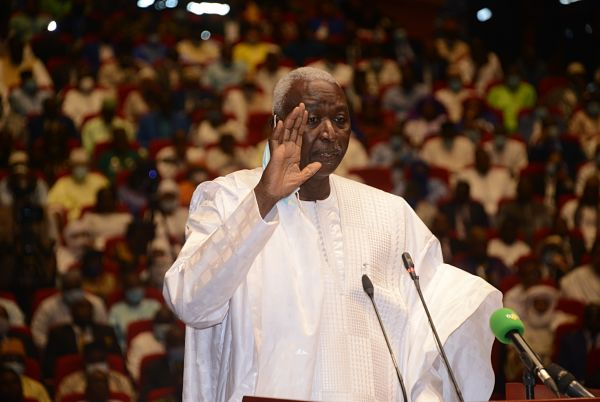 Bamako, 25 September 2020, Bah N'Daw is sworn in as Mali's transitional president. Pic: Habib Kouyate/Xinhua News Agency/PA Images