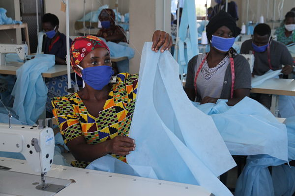 PPE-making on the outskirts of Dar es Salaam. Pic: Xinhua News Agency/PA Images