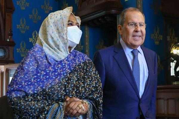 Mariam Sadiq al-Mahdi and Sergei Lavrov, Moscow, July 2021. Pic: Russian Foreign Ministry/TASS/Alamy