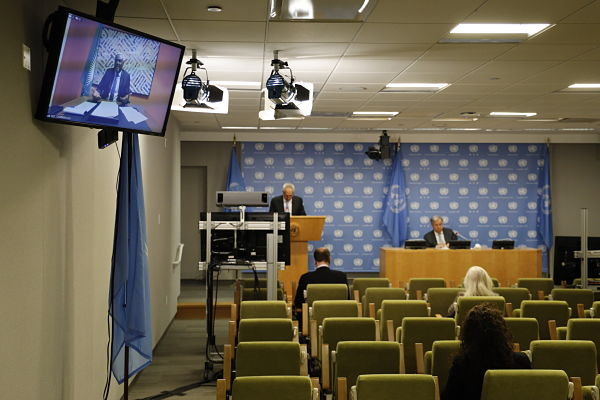 9 December 2020: António Guterres (1st right, rear) and Moussa Faki Mahamat (on screen) attend joint press conference at UN HQ, New York. Pic: Xie E/Xinhua News Agency/PA Images