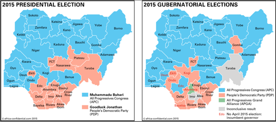 Nigeria 2015 Presidential and Gubernatorial Elections Map
