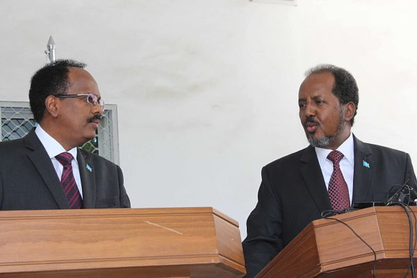 Hassan Sheikh Mohamud (R) and Mohamed Abdullah Mohamed 'Farmajo' (L), February 2017. Pic: Faisal Isse/Xinhua/SIPA USA/PA Images