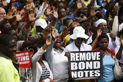 MDC supporters protest in Harare. Pic: Shaun Jusa/Xinhua News Agency/PA Images November 2018