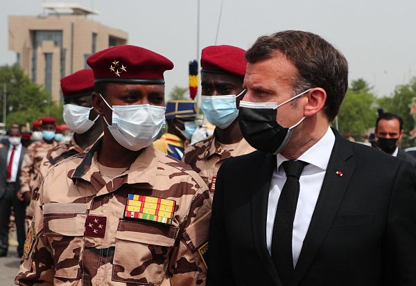 Mahamat Idriss Déby and Emmanuel Macron arrive to attend the state funeral of Idriss Déby Itno, N'Djamena, 23 April 2021. Pic:  Christophe Petit Tesson / Abaca Press / Alamy