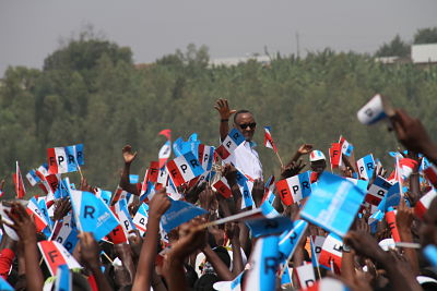 Paul Kagame greets his supporters at a presidential campaign rally in Ruhango on July 14, 2017. Pic: Lyu Tianran/Xinhua News Agency/PA Images