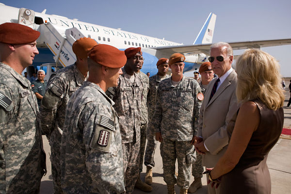 Joe Biden and Dr. Jill Biden meet with US Army soldiers at the airport in Sharm El Sheikh, Egypt, June 2010. Official White House Photo by David Lienemann