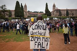 Demonstrators at the government's Union Buildings in Pretoria, 16 December 2015. Photo: Jacques Nelles/AP/Press Association Images